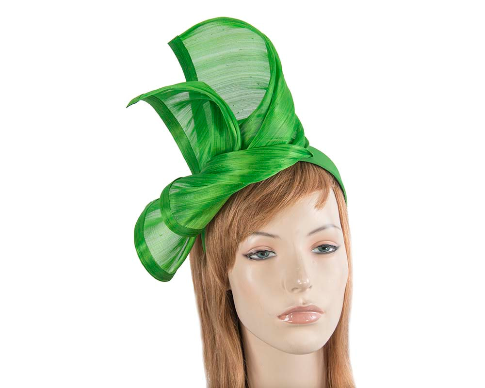 Bespoke lime silk abaca racing fascinator by Fillies Collection