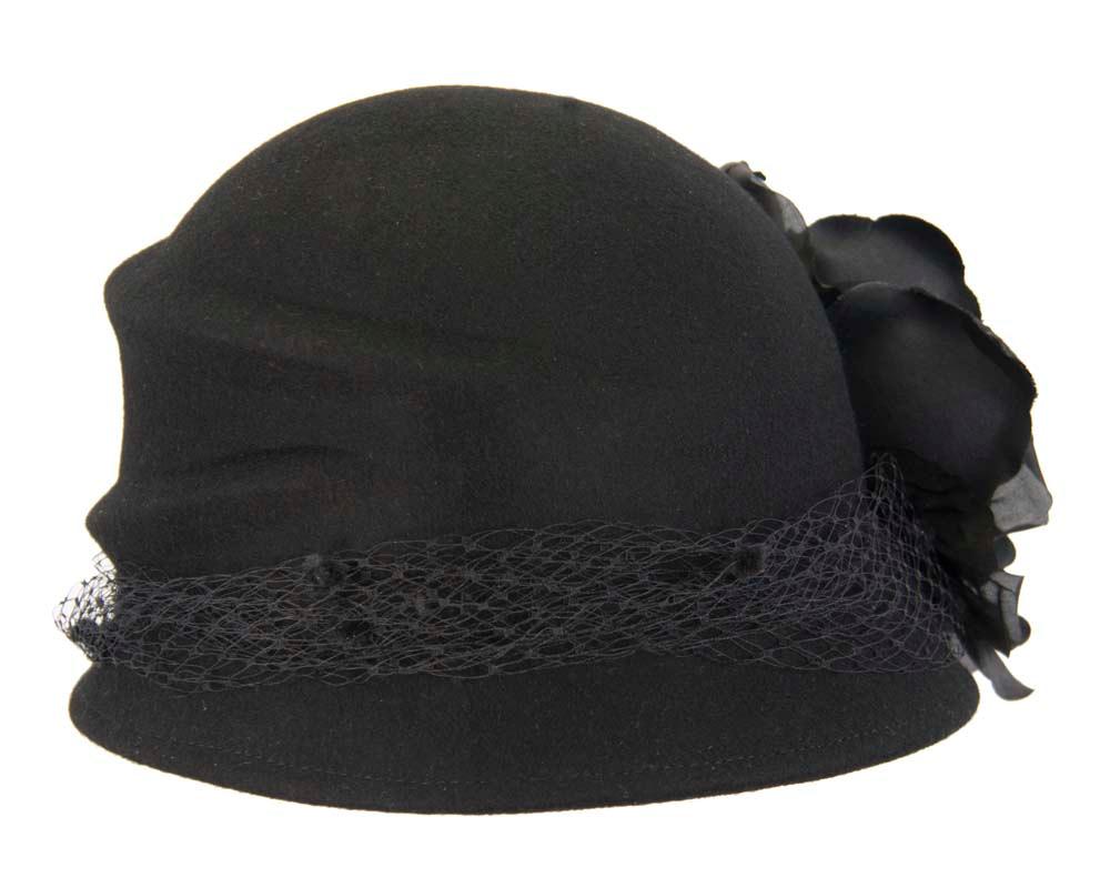 Black cloche bucket felt hat