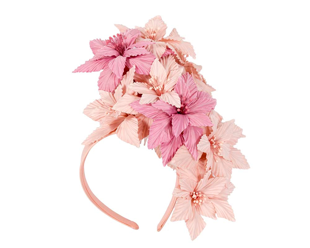 Bespoke pink flowers fascinator headband by Cupids Millinery