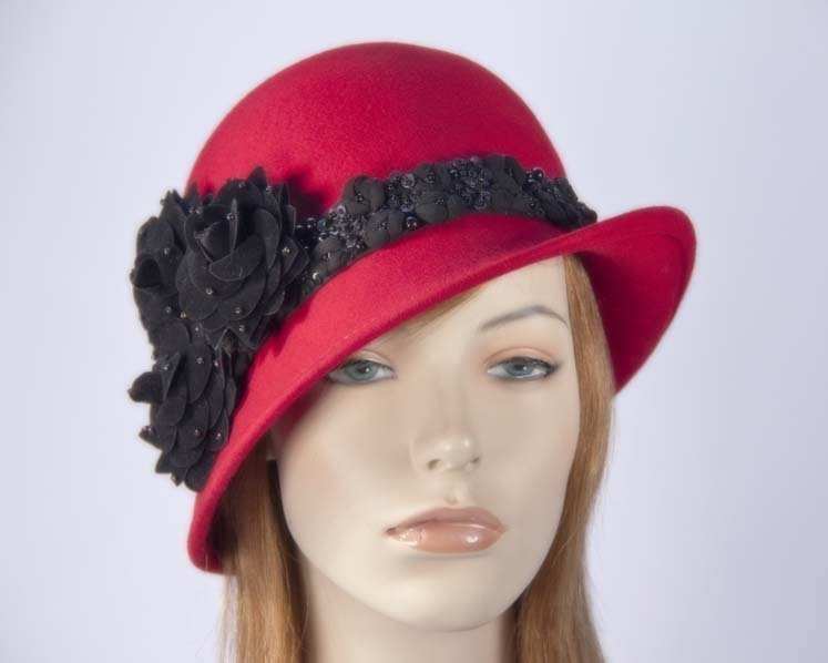 Red ladies winter felt cloche hat buy online in Australia F573R