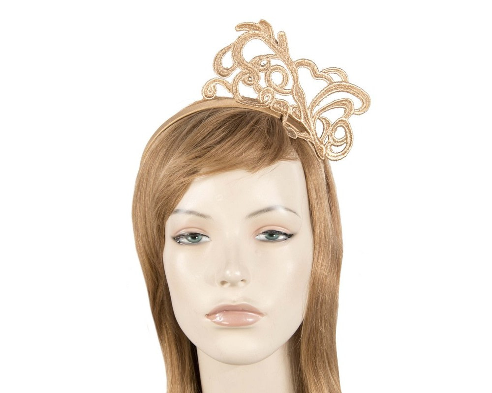 Gold lace fascinator