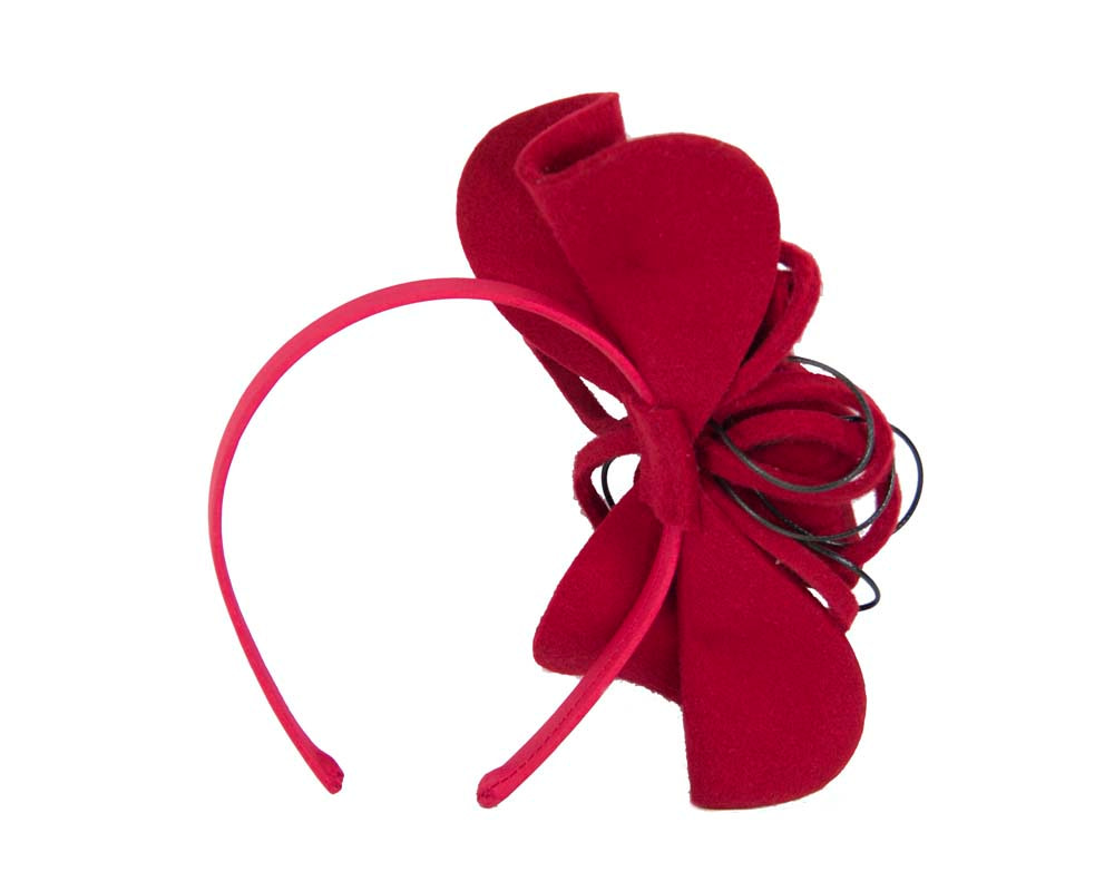 Red felt flower racing fascinator