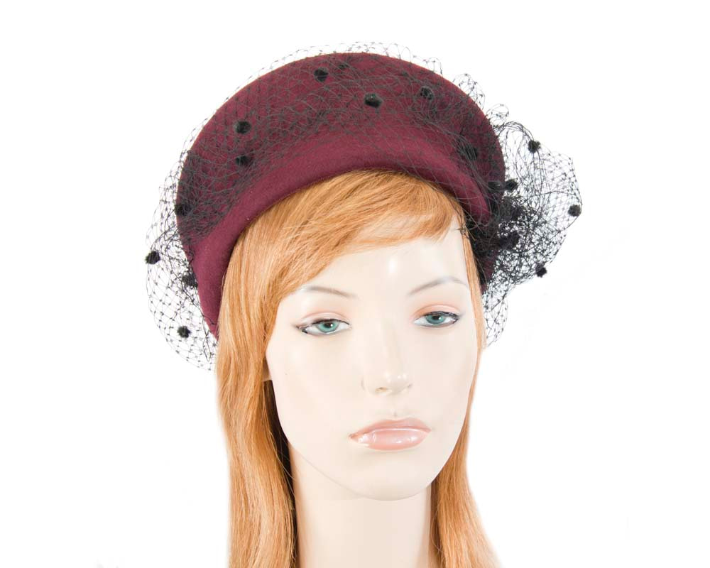 Large wine & black felt beret hat