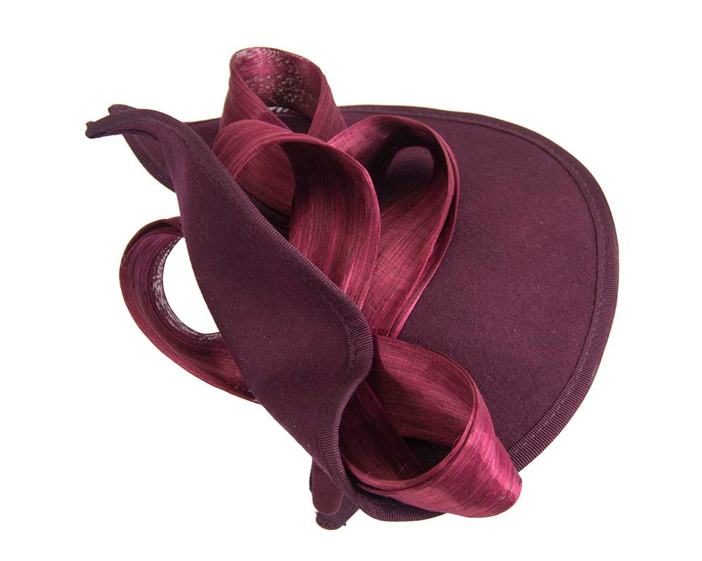Twisted wine felt fascinator by Fillies Collection