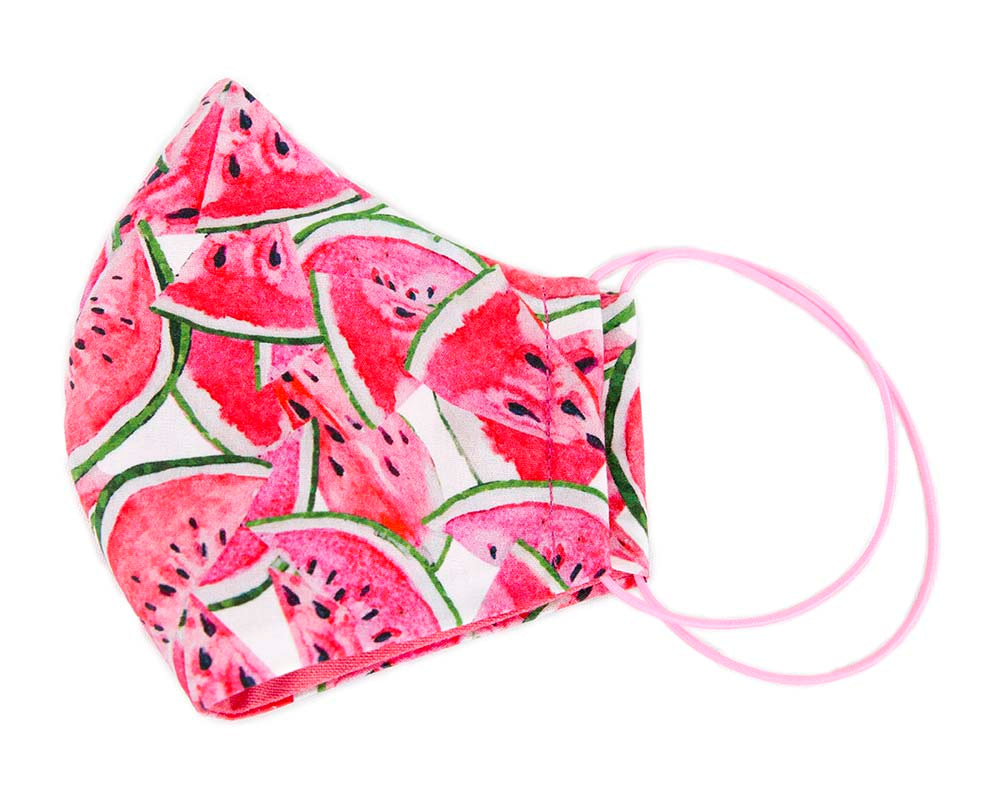 Comfortable re-usable cotton face mask with watermelon print