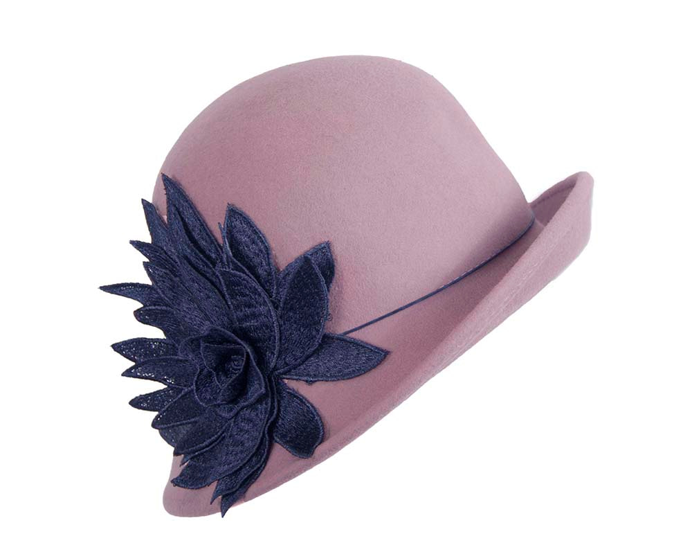 Pink & navy cloche hat by Max Alexander