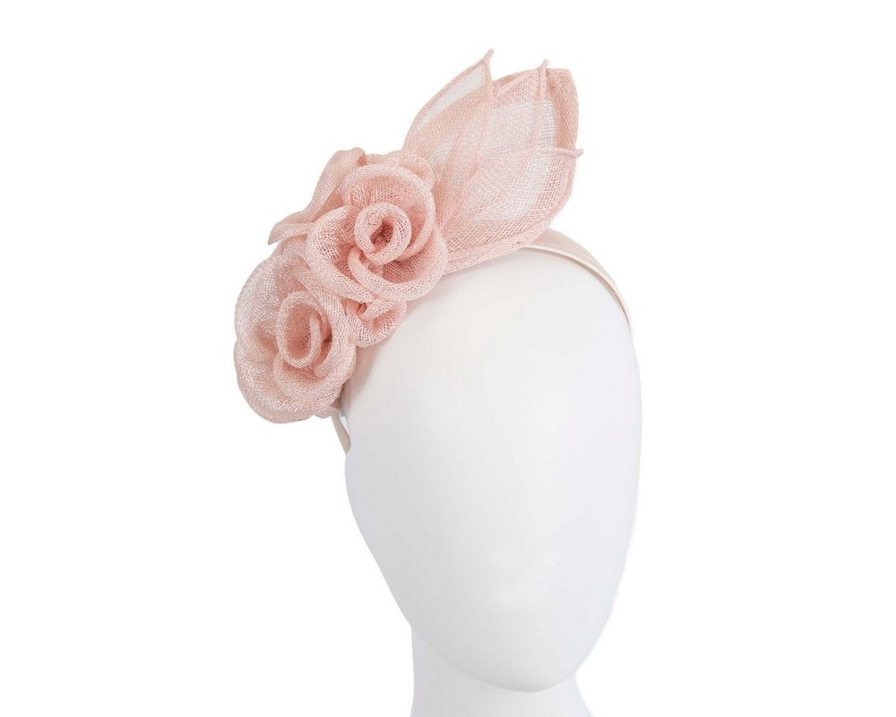 Large blush sinamay  flower fascinator by Max Alexander