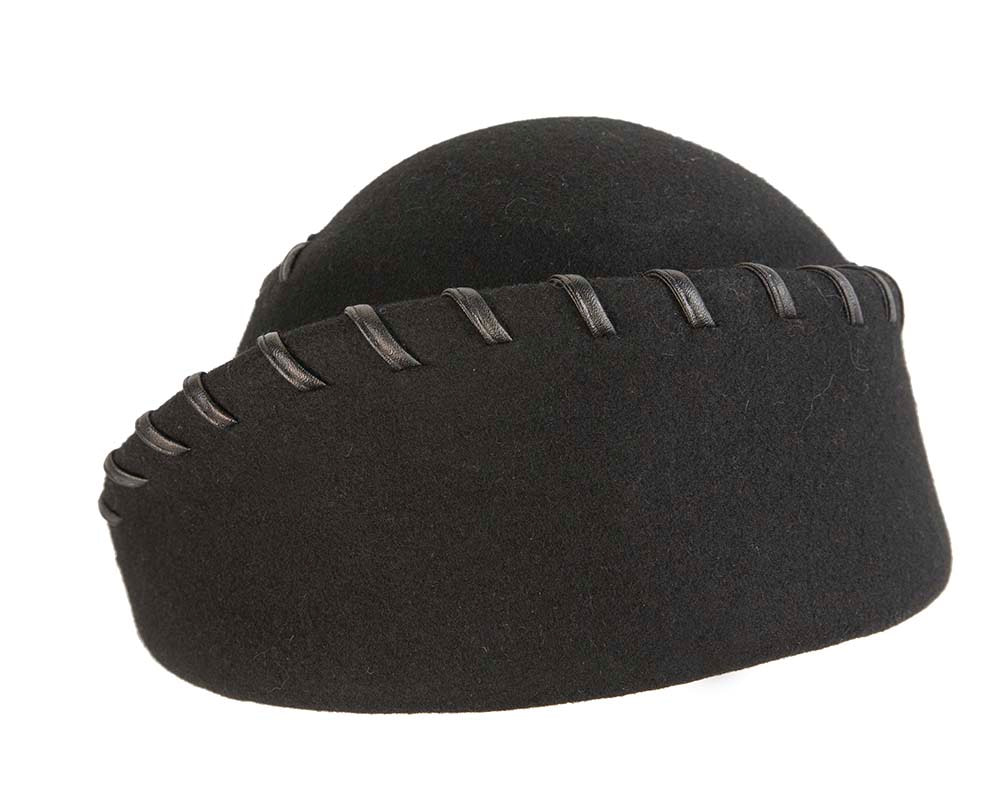 Exclusive black felt ladies fashion hat