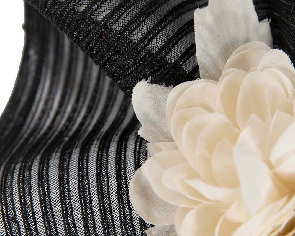 Large black & cream racing fascinator with flowers by Fillies Collection