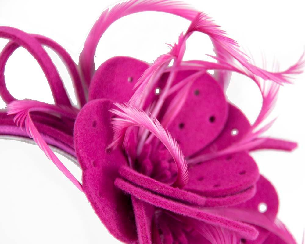 Fuchsia felt flower winter fascinator