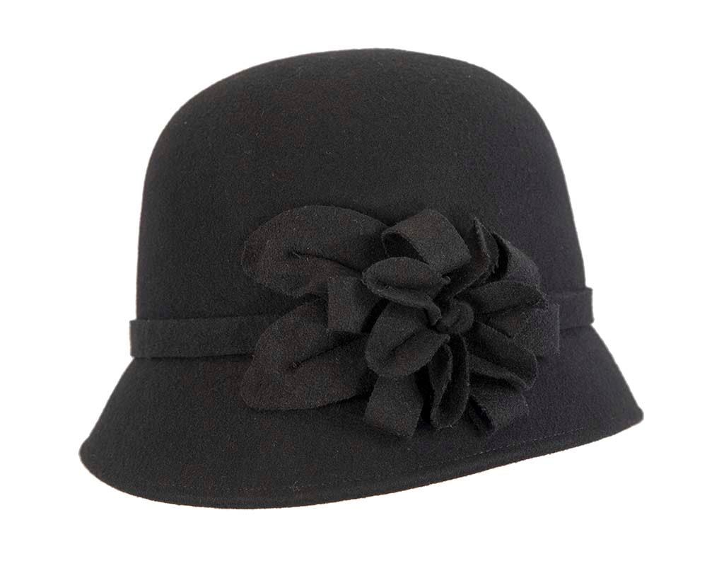 Black winter fashion bucket hat with flower by Cupids Millinery