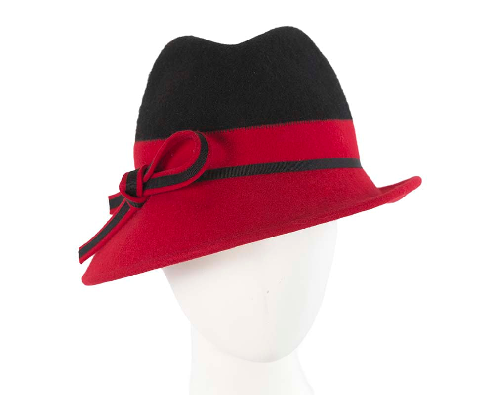 Black & red fashion fedora hat by Cupids Millinery