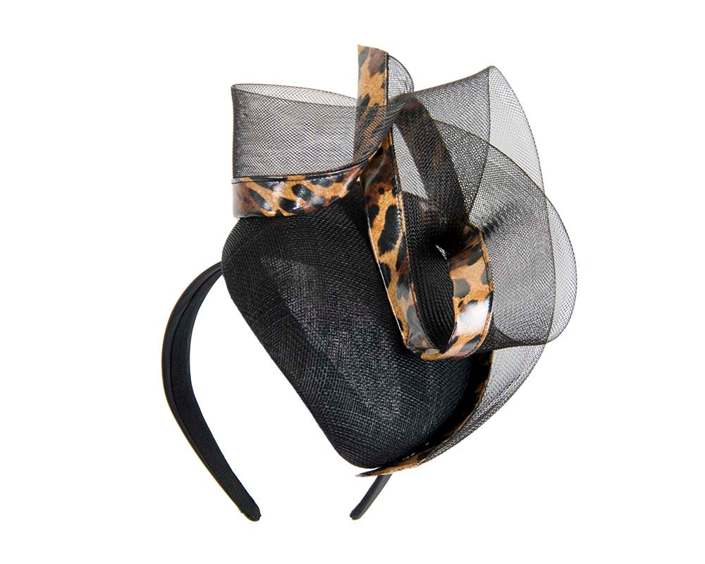 Tall black & leopard pillbox fascinator