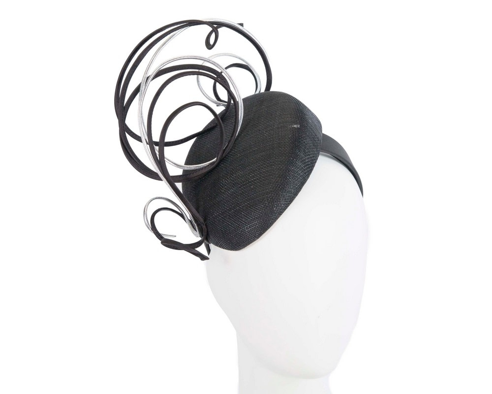 Designers black & silver pillbox fascinator by Fillies Collection