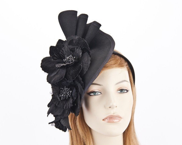 Large black felt flower fascinator F591B