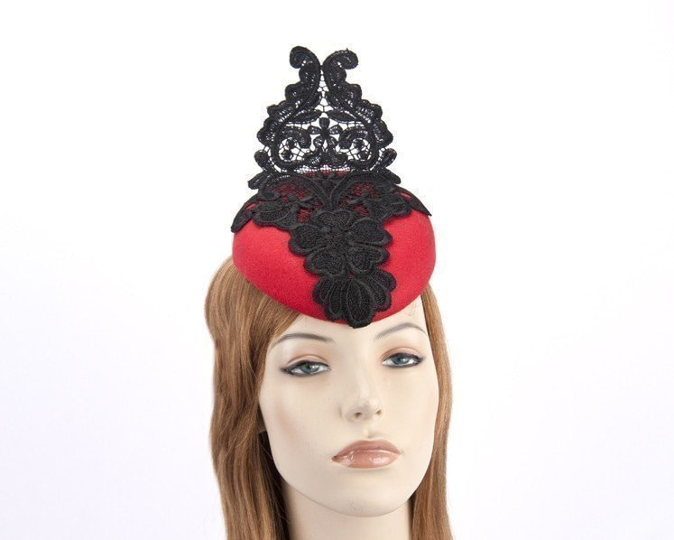 Red pillbox fascinator with black lace F585R