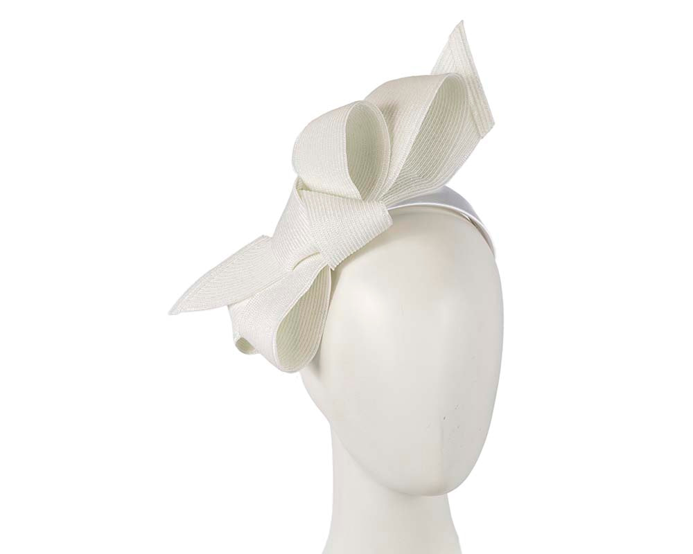 Large off white bow racing fascinator by Max Alexander