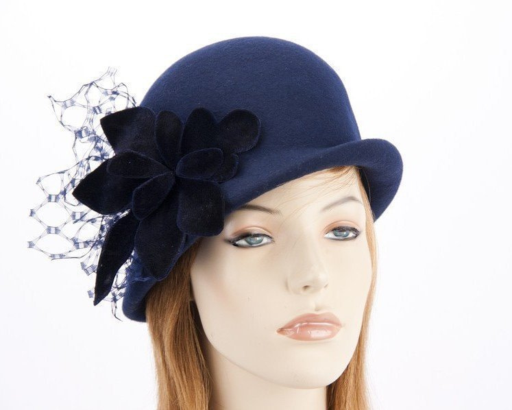 Navy felt bucket hat with flower F589N