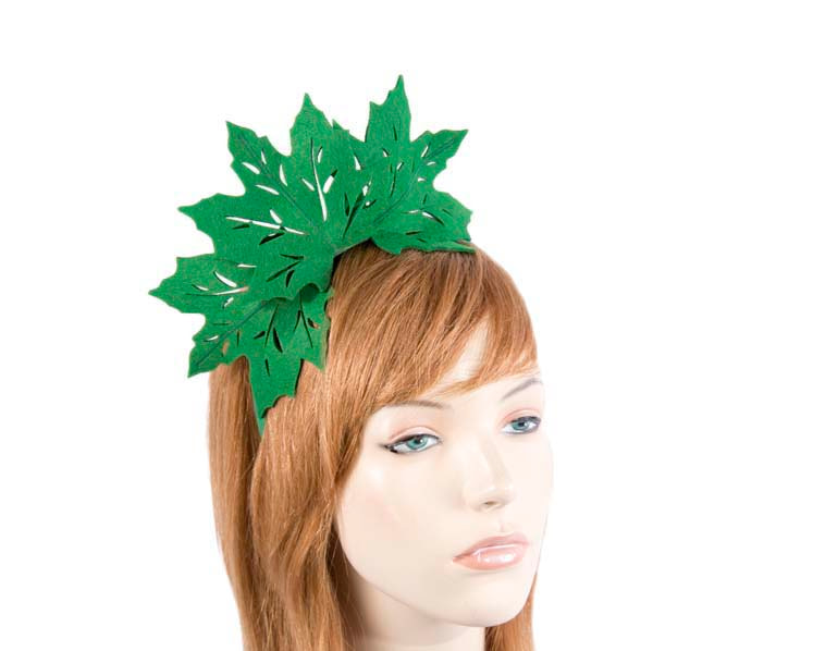 Green laser cut maple leafs on headband