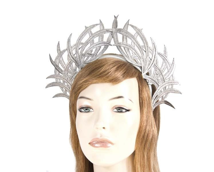 Silver lace crown fascinator