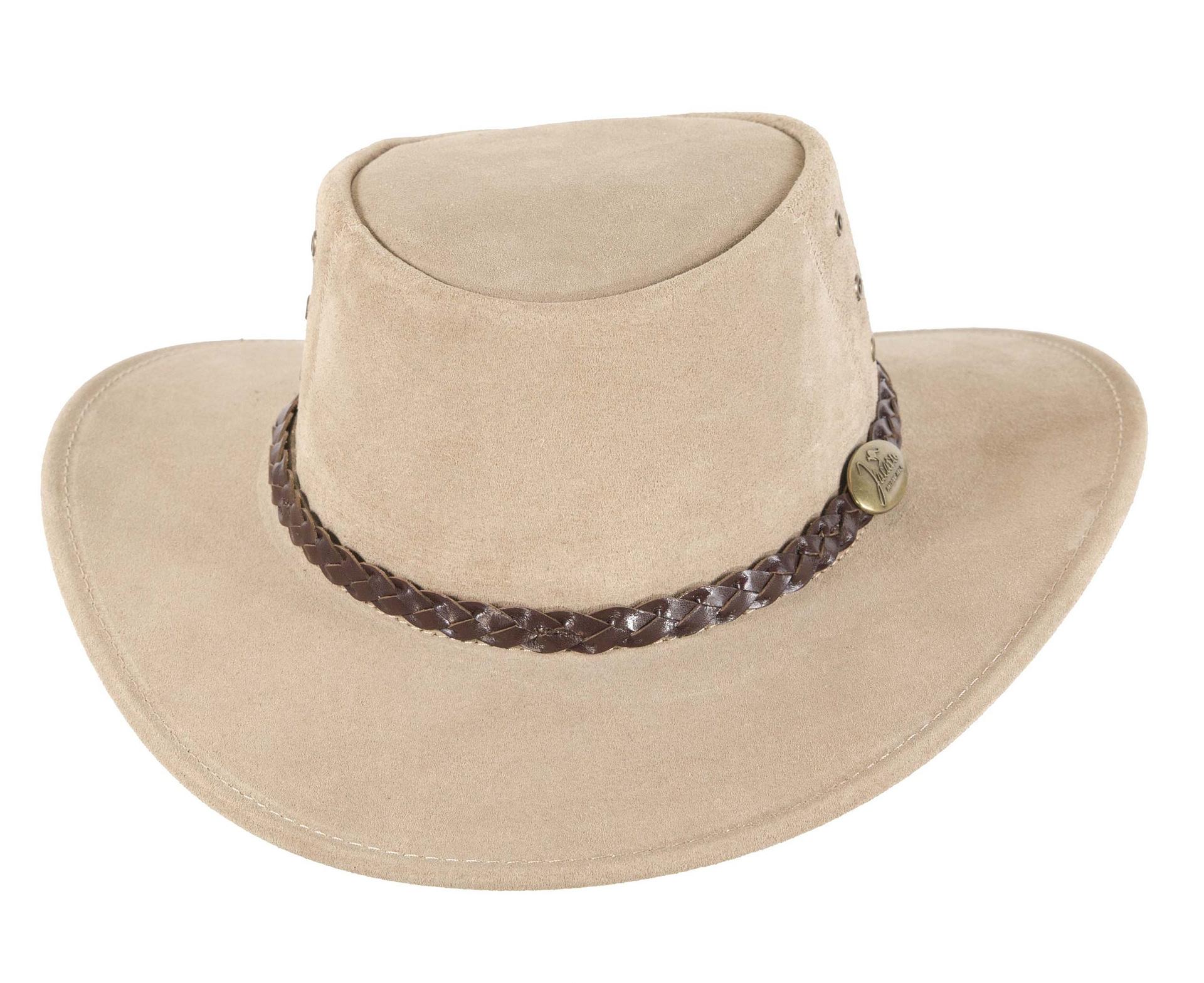 Beige  Australian Leather Bush Outback Jacaru Hat