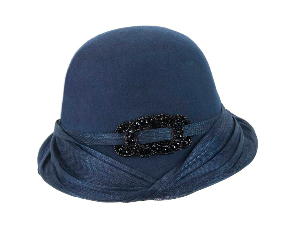 Navy felt draped cloche hat