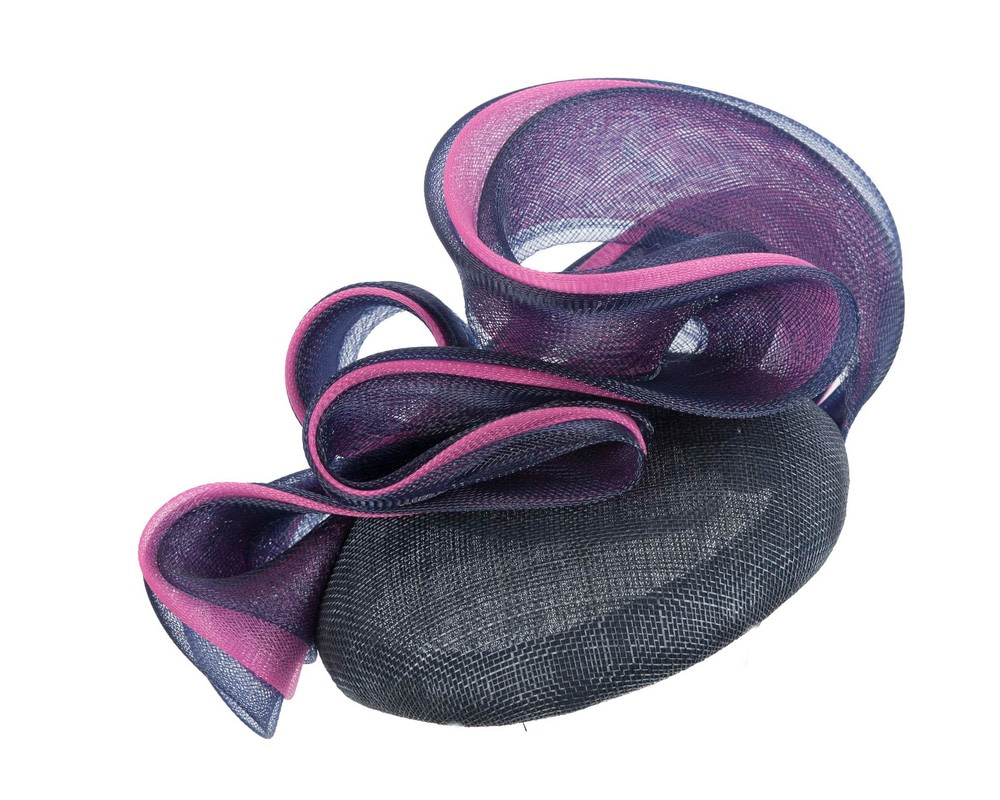Designers navy & fuchsia pillbox fascinator by Fillies Collection