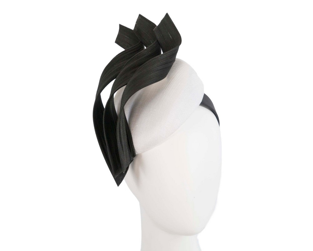 Bespoke white & black pillbox fascinator by Fillies Collection