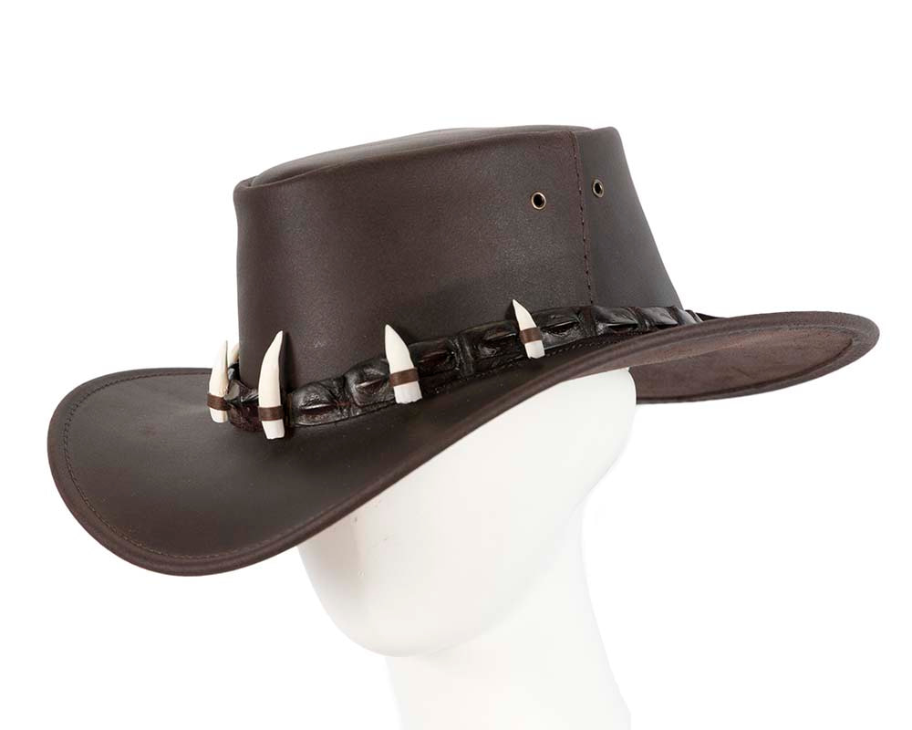 Australian Leather Outback Jacaru Hat with Crocodile Teeth