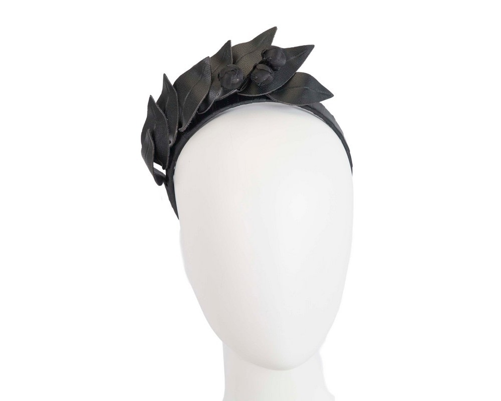 Black sculptured leather headband racing fascinator by Max Alexander