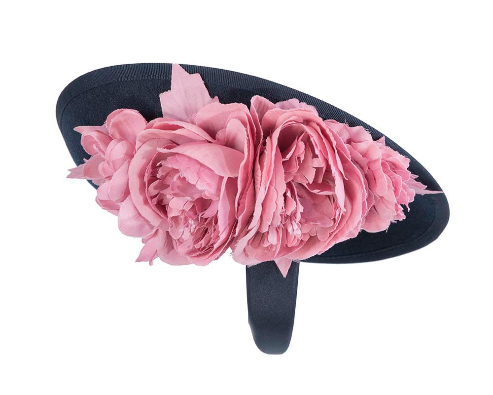 Large navy plate with pink flowers winter racing fascinator