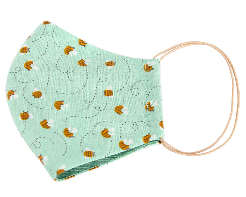 Comfortable re-usable green cotton face mask with bees