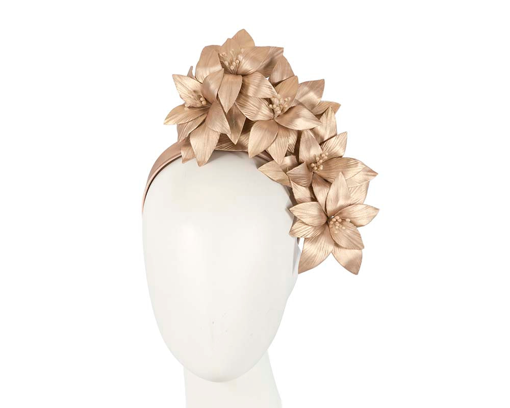 Gold leather flower headband fascinator by Fillies Collection