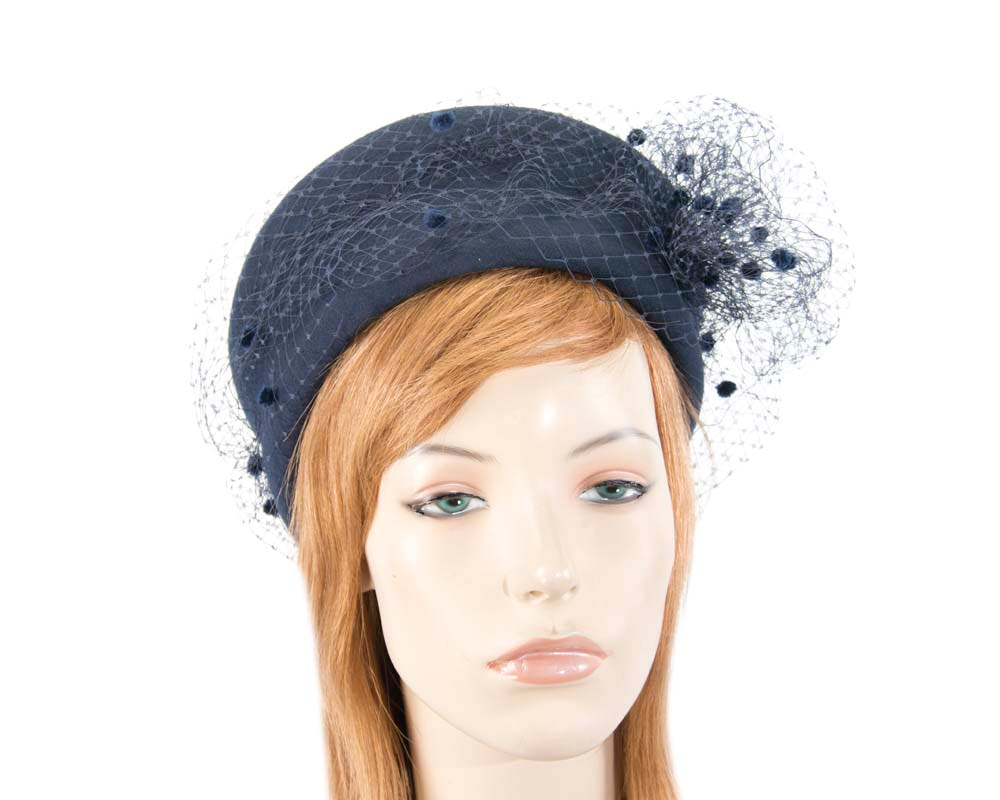 Large navy felt beret hat