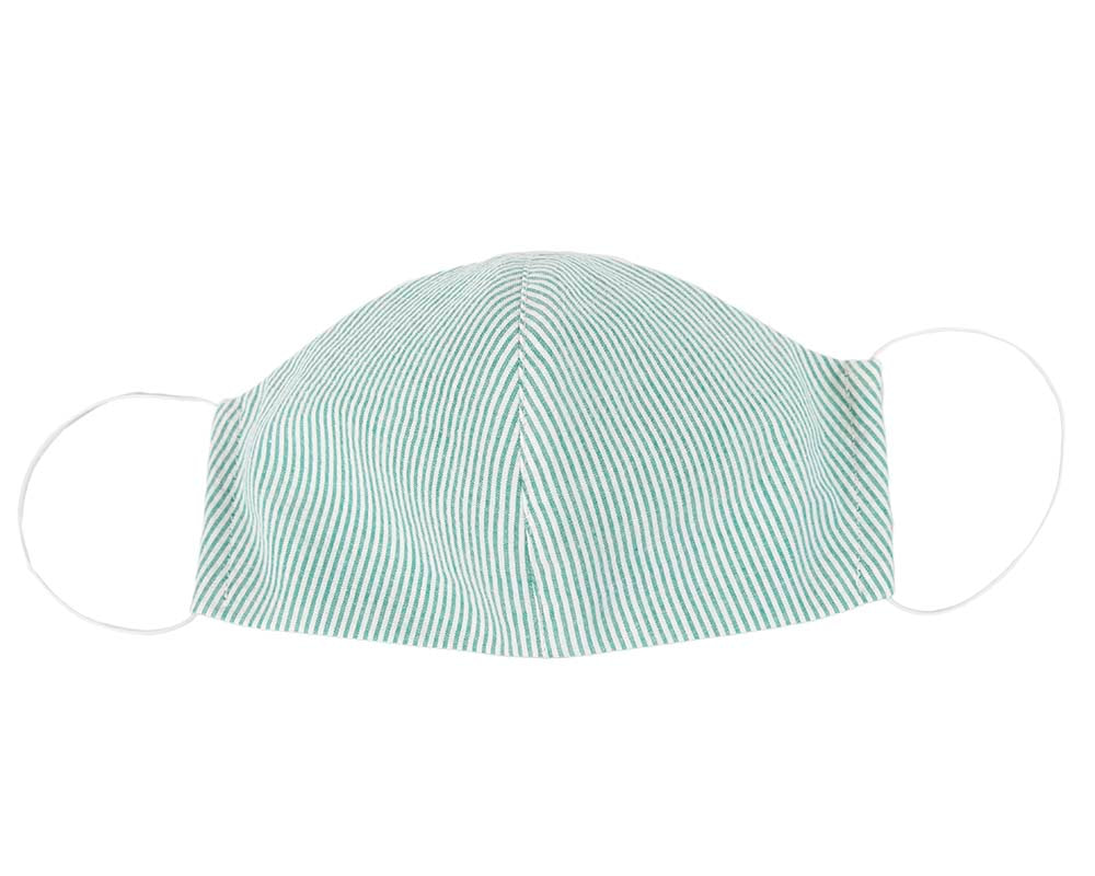 Comfortable re-usable green face mask with stripes