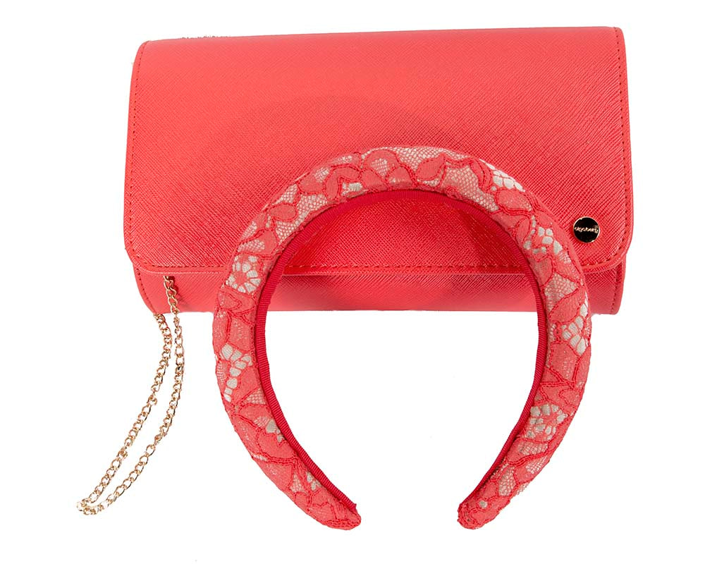 Bright coral headband & bag combo by Cupids Millinery Melbourne
