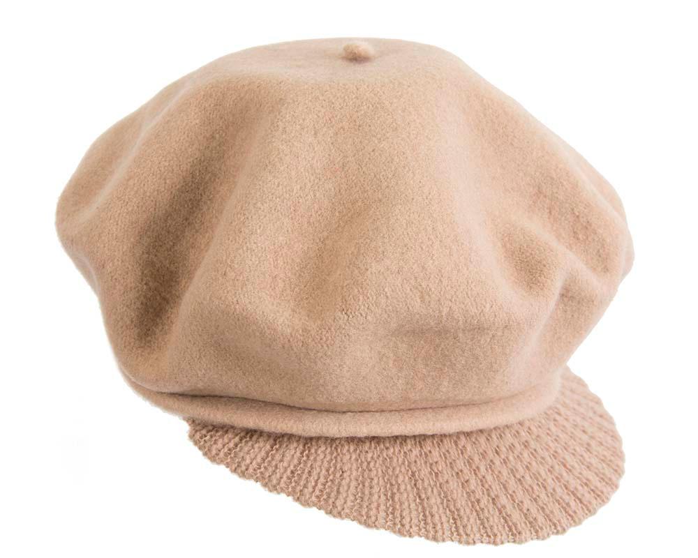 Warm beige winter newsboy cap by Max Alexander