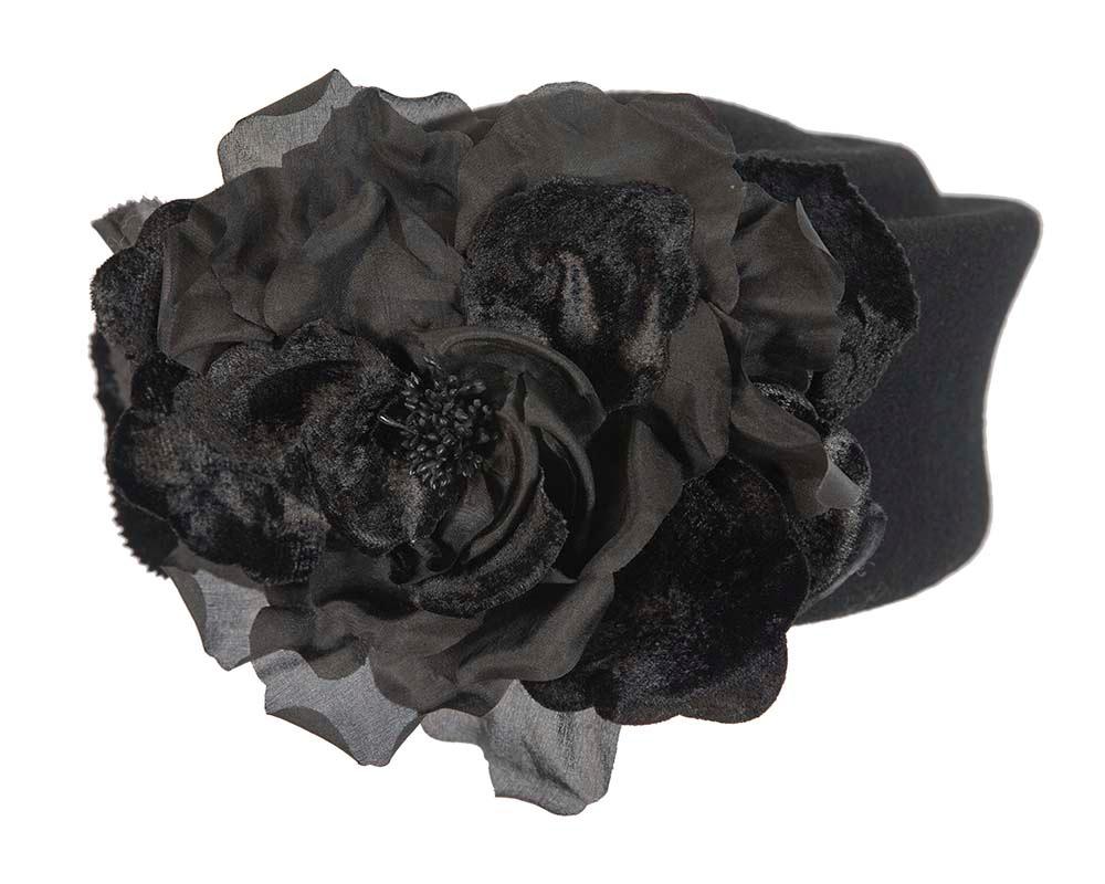 Black large felt pillbox with flower for winter racing F593B