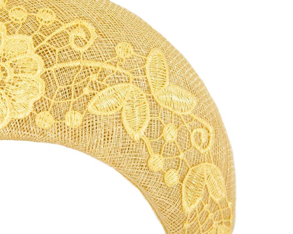 Bespoke yellow headband racing fascinator by Cupids Millinery