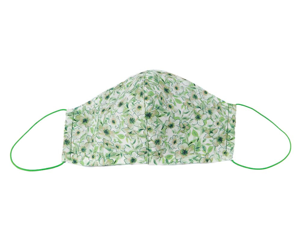 Comfortable re-usable cotton face mask with green flowers