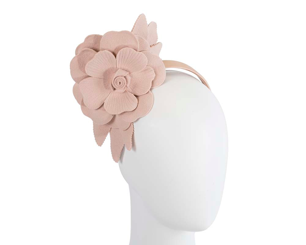 Beige felt flower fascinator by Max Alexander