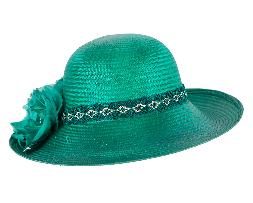 Large Teal Fashion Racing Hat by Cupids Millinery