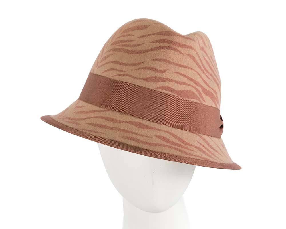 Animal print winter felt winter fedora hat by Cupids Millinery
