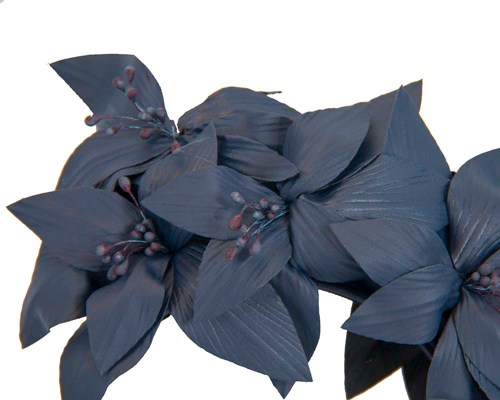 Navy leather flower headband fascinator by Fillies Collection