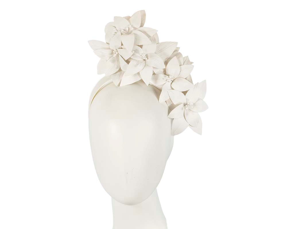 Ivory leather flower headband fascinator by Fillies Collection