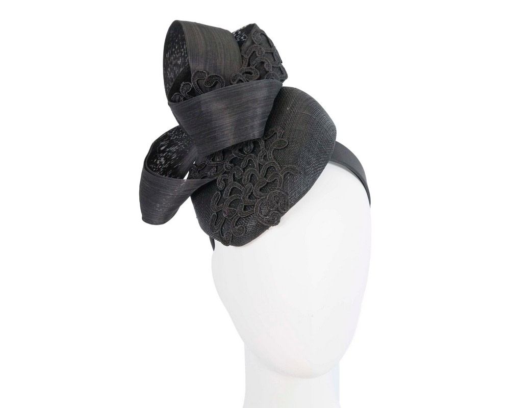 Stunning black pillbox fascinator with lace by Fillies Collection