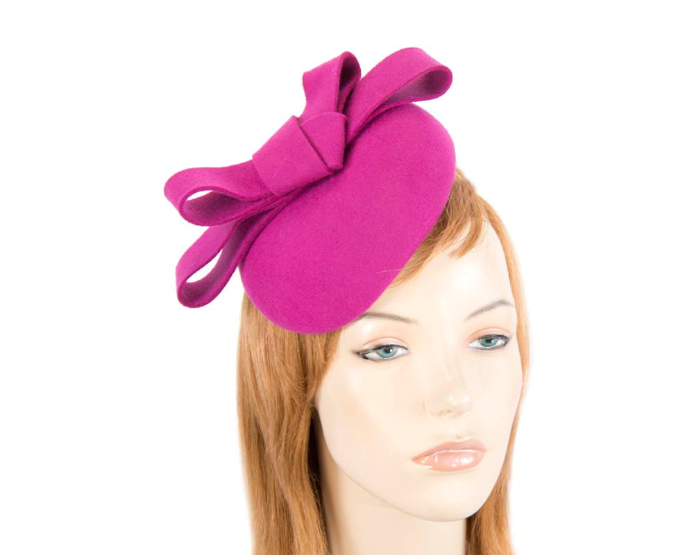Fuchsia felt winter racing pillbox fascinator