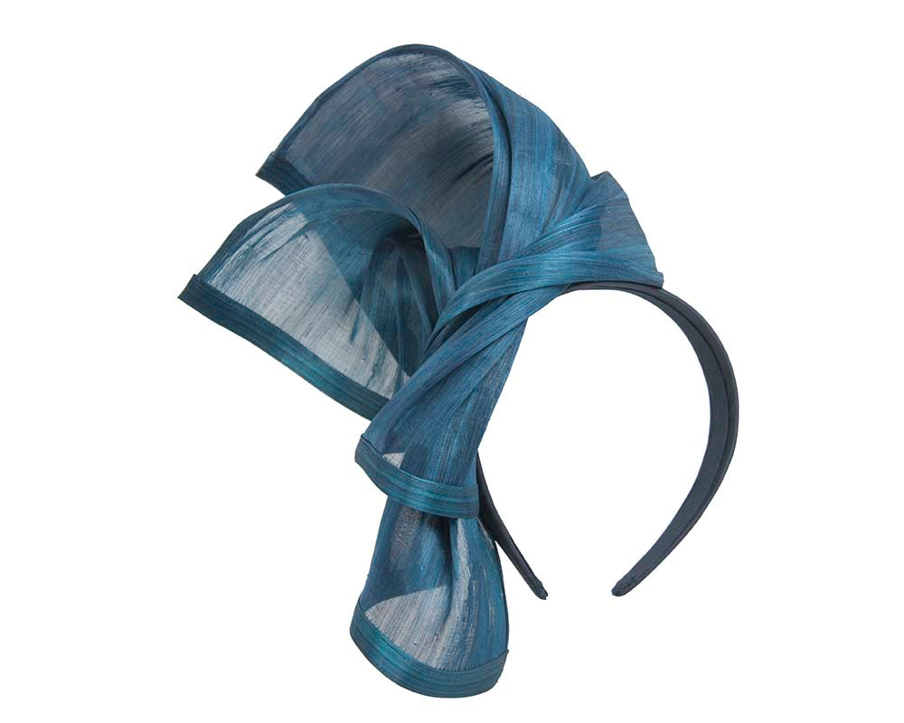 Bespoke marine blue silk abaca racing fascinator by Fillies Collection