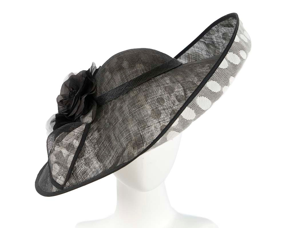 One off large black & ivory racing hat by Cupids Millinery
