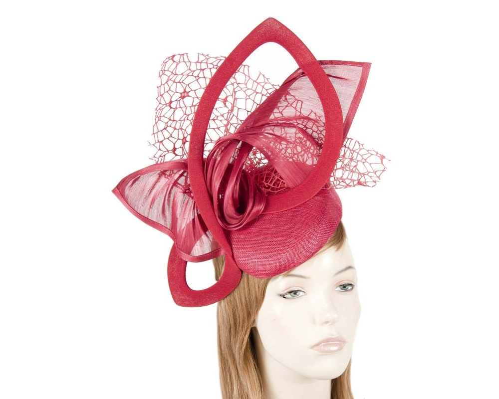 Bespoke sculptured red fascinator by Fillies Collection
